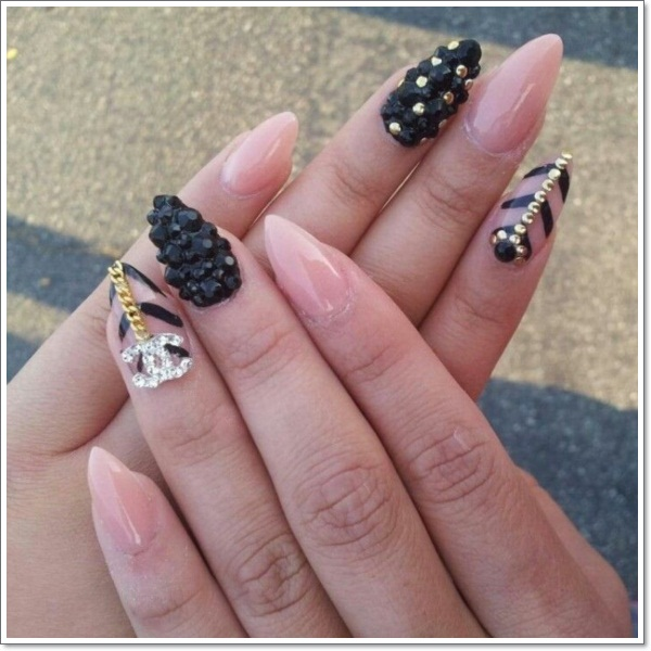 Nudeblack Stiletto nails