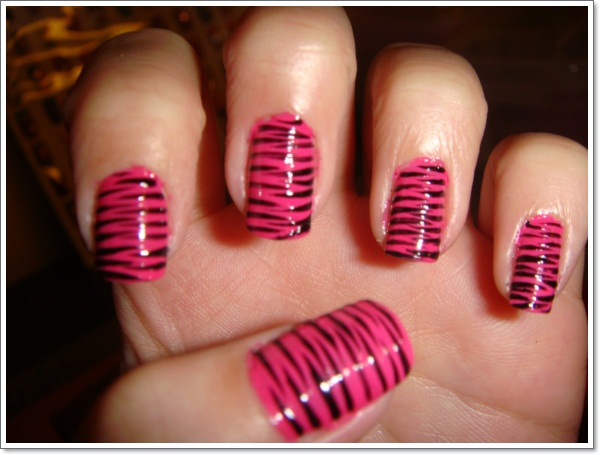 Zebra Nail Art With Hot Pink Tips - Nail Art Ideas