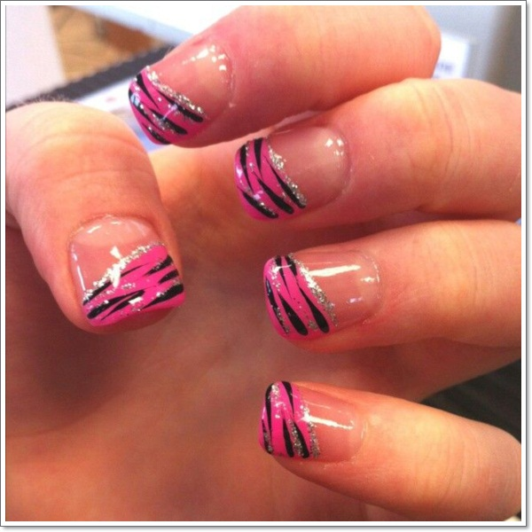 ... pink zebra nails ... - 25 Zebra Print Nails Design Ideas!
