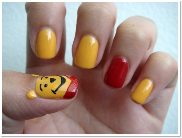 Childhood memories17 cartoon nail art designs and how to yellow black and red color cartoon nail art prinsesfo Images