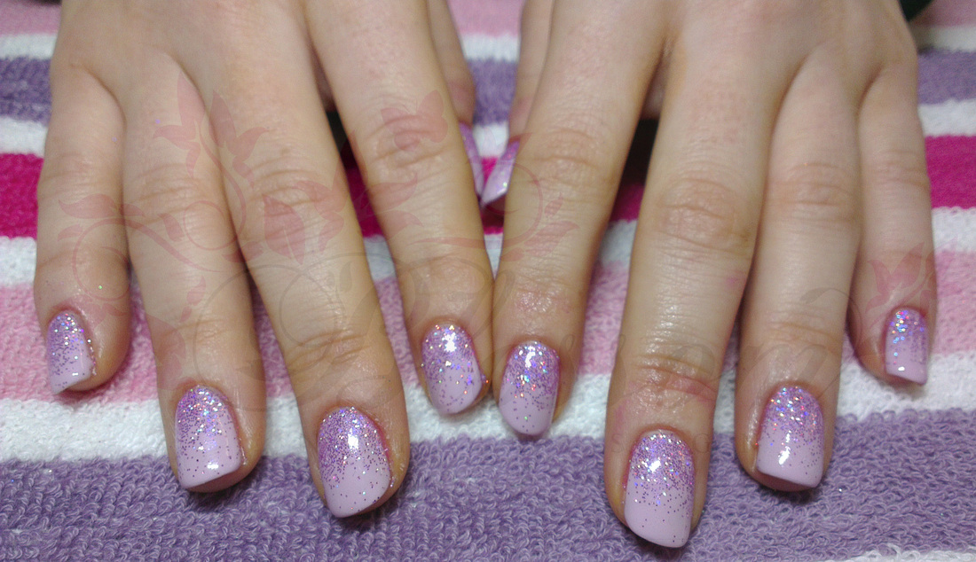 Shellac Nail Design Ideas neon pink nails with blue glitter maybe do a red with 1 blue glitter for the of july General Amazing Soft Purple Shellac Nail Design With