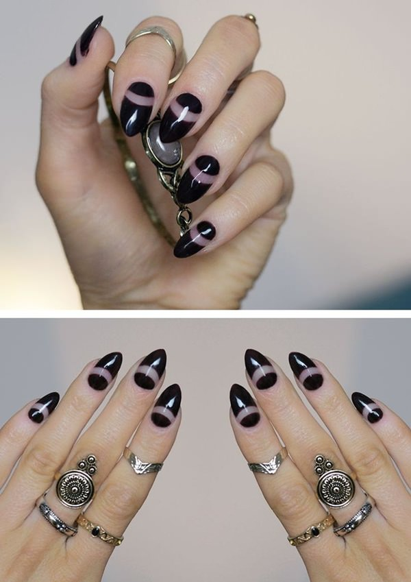 ... this design mixes a natural look and the always in fashion statement  color. Notice how the stripped curve is right below the middle of the nail. - 30 Must Try Almond Nail Designs