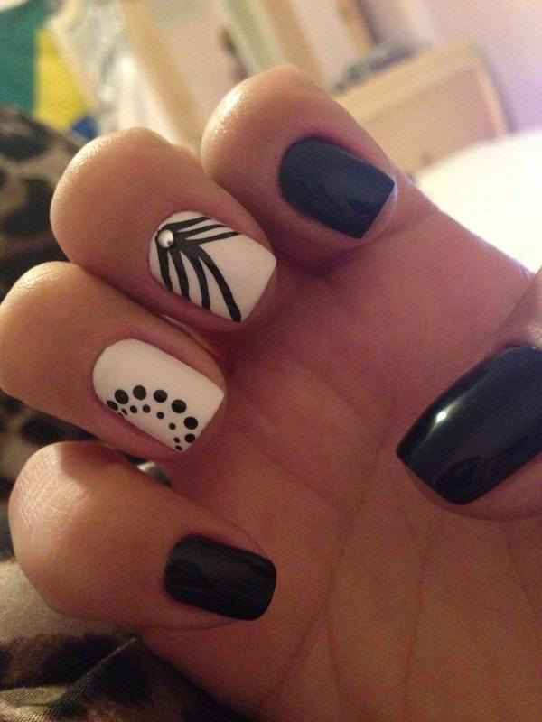 black and white nail designs 14 - 50 Incredible Black And White Nail Designs
