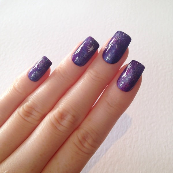 48 stunning galaxy nail designs video tutorial you dont always need to add blue to your galaxy nail art here we have shades of violets blended together with a touch of pink to add dimension prinsesfo Choice Image