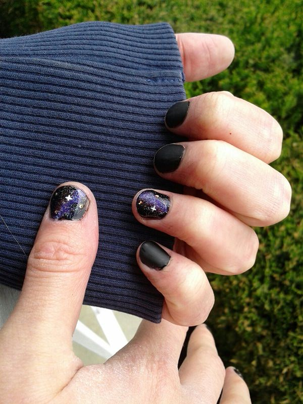48 stunning galaxy nail designs video tutorial decorating one nail on each hand is becoming more and more popular test out and see whether you like the galaxy nail art or if youve got a steady enough prinsesfo Gallery