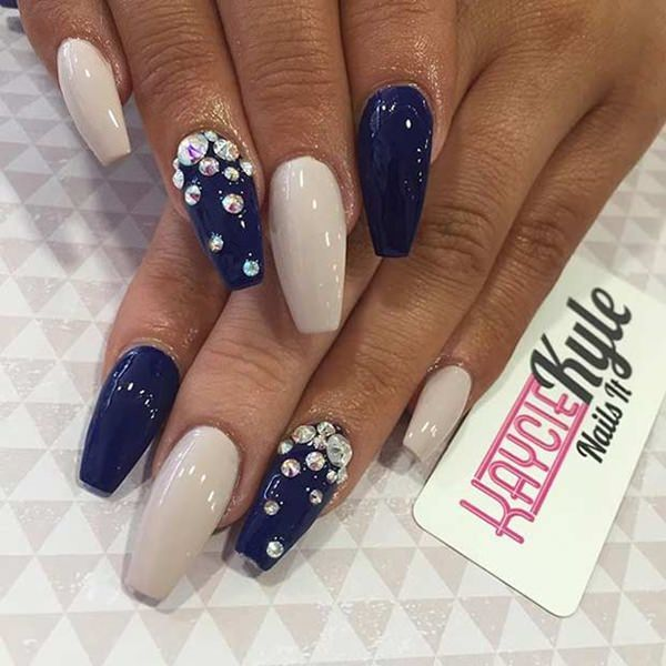 69 impressive coffin nails you always wanted to sport white and blue 31250716 coffin nails prinsesfo Choice Image