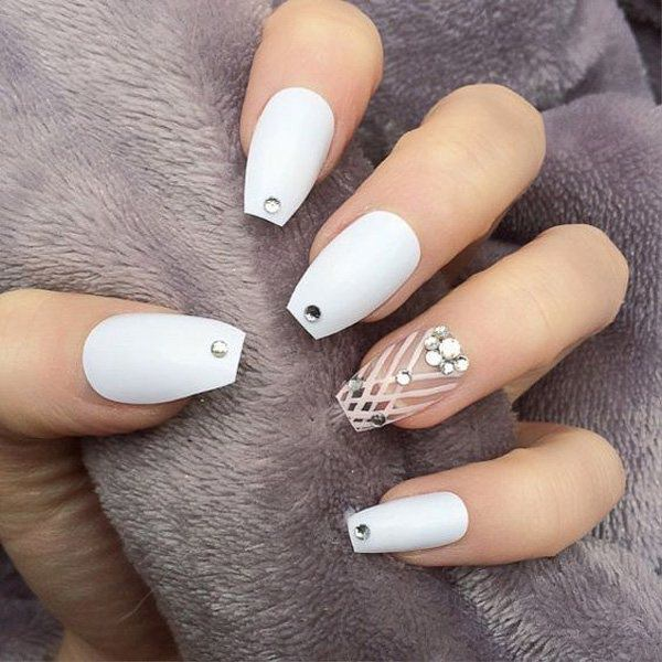 Dazzling white - 69 Impressive Coffin Nails You Always Wanted To Sport