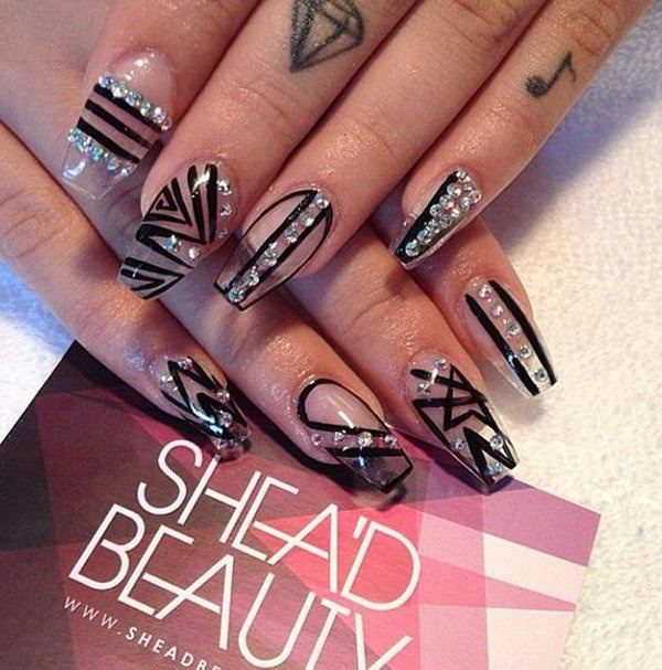 Line design. 41250716-coffin-nails - 69 Impressive Coffin Nails You Always  Wanted - Line Nail Design Graham Reid