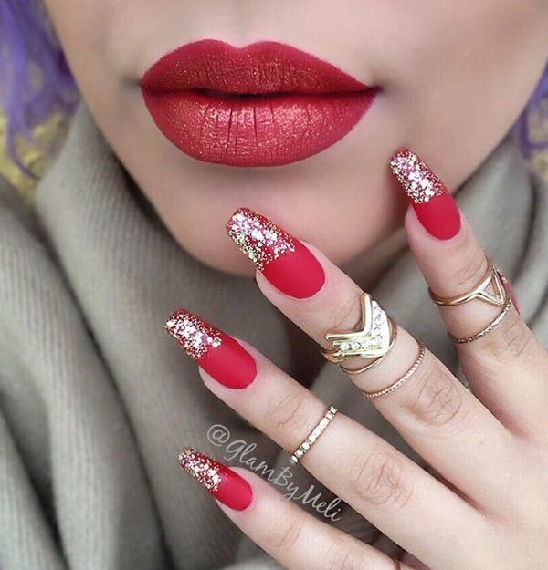 Lipstick red - 69 Impressive Coffin Nails You Always Wanted To Sport