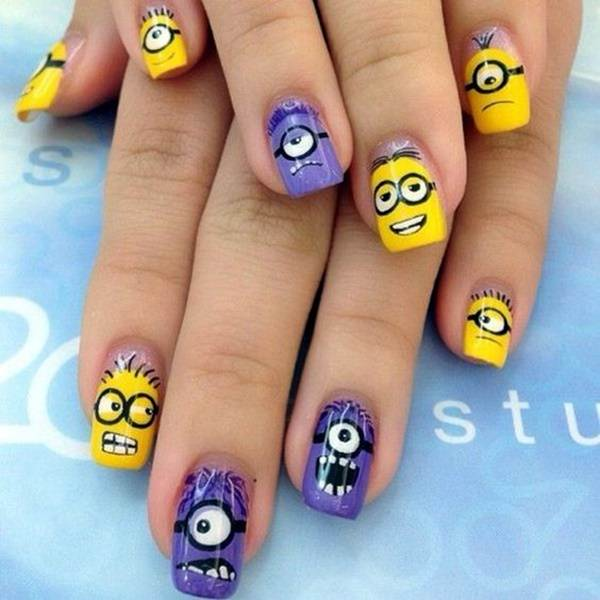 42 funnest minion nail designs you will love