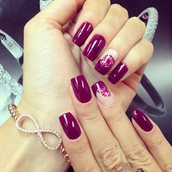 4110816burgundy-nails - 50 Amazing Burgundy Nails You Definately Have To Try