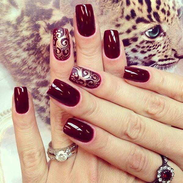 43110816burgundy-nails - 50 Amazing Burgundy Nails You Definately Have To Try